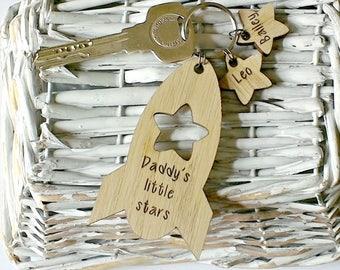 Handmade Wooden Rocket Keyring, Dad keyring, daddy keychain, father's day wooden keyring,