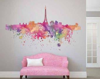 cik1853 Full Color Wall decal Watercolor France paris living room