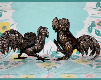 Pair of Solid Brass Fighting Hen and Rooster Figurines, Vintage - 1950