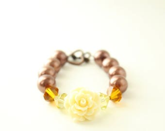 Brown and Amber with White Flower Bracelet