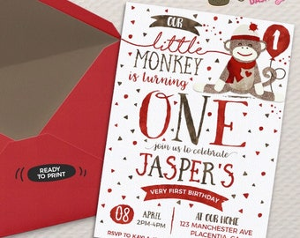 Sock Monkey Birthday invitation Red Sock Monkey birthday invitation DIY birthday invitation Printable sock monkey birthday