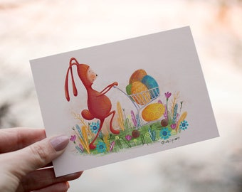 Easter bunny Greeting Card, Digital Download Card, Easter eggs, Holiday Greeting Card, Postcard, Funny Easter kids card, Happy Easter rabbit