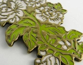 Flower Antique Gold Metal Pendant