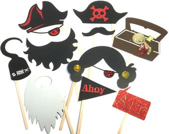 Photo Booth Props - 10PC Pirate Party Photo Booth Props