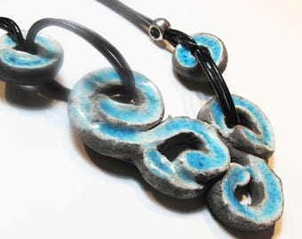 Raku necklace turquoise