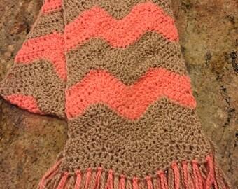 Chevron scarf in tan and tangerine