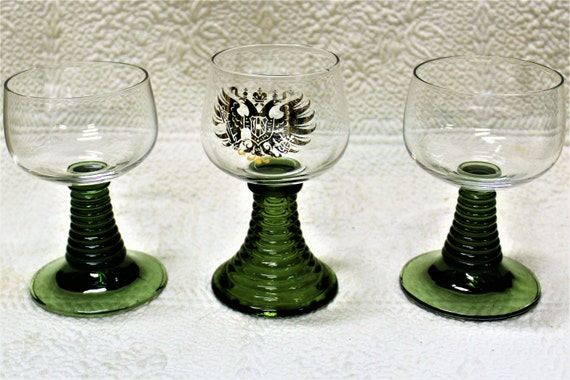 Vintage German Roemer Ribbed Green Stem Wine Glasses From The 1950's, Collectible Roemer Wine Glasses One With Gold Shield & Hollow Stem