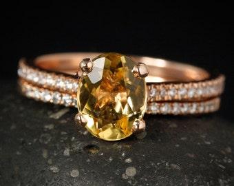 Rose Gold Golden Beryl Engagement Ring - Prong Set Golden Beryl - Pave Diamond Band