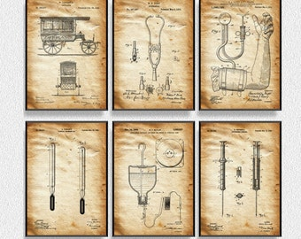 Medical Patents Set of 6 Prints, Medical Poster, Medical Decor, Medical Blueprint, Medical Print, Medical Art