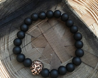Matte Black Rose Gold Lion Head Bracelet