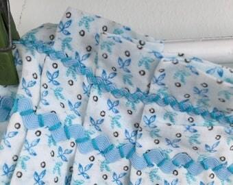 Vintage  Baby Blue Print Cotton Apron