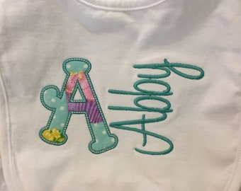 Personalized Baby Bib Embroidered bib Applique baby bib Name bib baby gift birthday gift