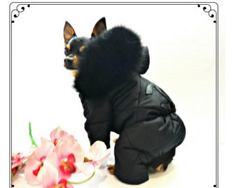 Dog winter clothes - pet clothes - dog winter coat - black - cute clothes - dog overall with natural fur-pet overall-winter overall