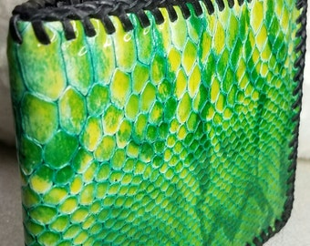 Jewel Emerald Leather Wallet, Python Embossed Ladies Slim Style Wallet, 6 Credit Slot/ID/2 Pocket/Coin Pouch, HandLaced