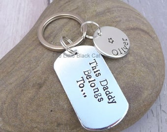 This Daddy Belongs To, Daddy Keyring, Daddy Keychain, Personalised Keyring, Dog Tag Keyring, Childrens Name, Gift For Him, Mens Present, Dad