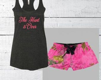 Women's Pajama set,  Pajama shorts, Bride PJ's set, personalized pajamas, camo bride pajamas, custom pj, bride gift, bridesmaid pajamas
