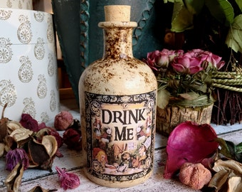 Alice in Wonderland Bottle. Drink Me Bottle. Glass Bottle. Mad Hatters Tea Party. Alice in Wonderland Decor. Drink Me. Bottle. Alice Bottle.