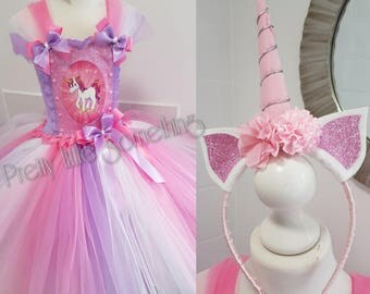 Unicorn tutu dress with matching hairband