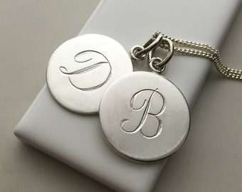 Double Disc Initial Necklace in Sterling Silver
