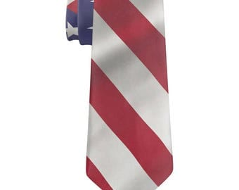 July 4th Patriotic Wavy American Flag All Over Neck Tie