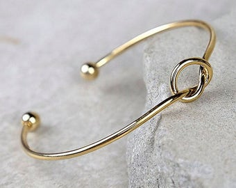 Gold Knot Bracelet, Love Knot Bracelet, Tie the Knot Bracelet, Bridesmaid Bracelet, Tie the Knot, Gold Love Knot Bracelet