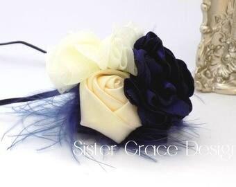 Baby Headband, Navy Blue Infant Headband, Flower Baby Headband, Baby Girl Feather Headband, Newborn Headband, Photo Prop