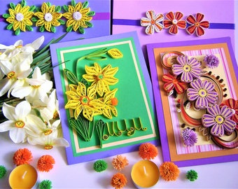 Two Mother's Day Card,Spring sale,Two for the price of one,Anniversary Cards,greeting cards,Quilling Flowers,Quilled card,All Ocassion Card