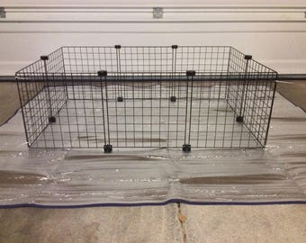 "Guinea Pig Cage Extra 14"" x 14"" Wire Grid Black Panel x10 Panels and x12 Connectors Rabbit Hedgehog"