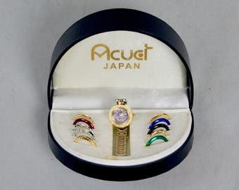 ACUET Japan Interchangeable face Ladies Wrist Watch In Original Box