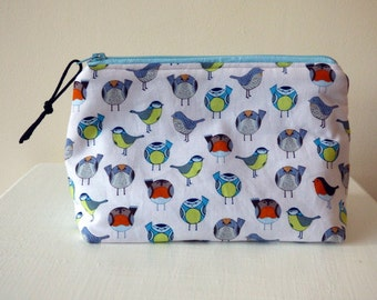 Cosmetic Bag With Spring Bird Design, Makeup Bag, Zipper Pouch, Cosmetic Case, Bird Lover Gift, Travel Pouch, Cosmetic Storage Bag