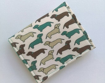 Dachshund wallet, wiener dog, simple cloth business card holder, cash wallet, hand sewn credit card wallet for Doxie lovers, dog lover gift