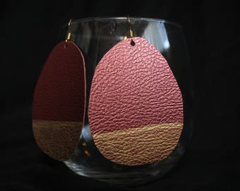 Large Faux Leather Earrings