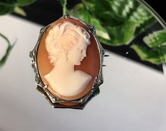 A Beautiful Antique Vintage 900 Silver and Marcasite Shell Cameo Portrait Brooch / Pin / Pendant C 1920