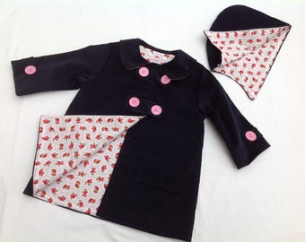 Girls Coat, Boys Coat, Baby Coat, Toddler Coat, Duffle Coat, jacket,  3 months-6 years, children's clothing, girls clothing, boys clothing,