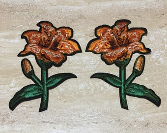 ORANGE FLOWER Embroidery Patch Iron On