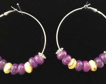 Purple & Yellow Hoop Earrings