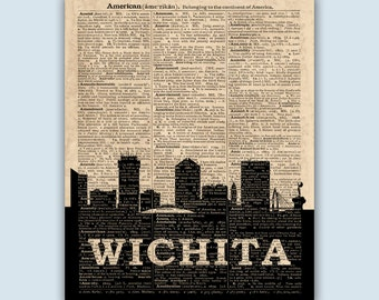 Wichita Skyline, Wichita Poster,  Wichita Decor,  Wichita Print,  Wichita Wall Art,  Wichita Gift,  Wichita Wall Decor,  Wichita Kansas