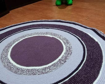 Hand crochet multicolour round rug # Nursery decoration # Living room decoration # Floor rug # Purple cosy rug#