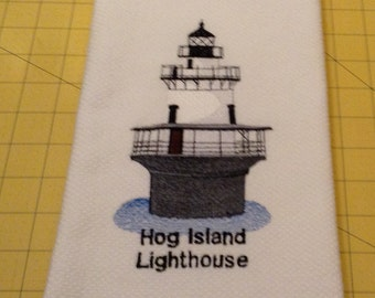 Hog Island Lighthouse, Rhode Island. Embroidered Williams Sonoma White Kitchen Hand Towel made in Turkey and Xlarge.
