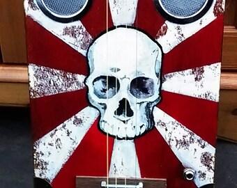 "Hand painted ""Skull"" cigar box guitar"