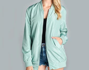 Fashionazzle Women's Lightweight Solid Classic Zip Up Long Bomber Jacket Coat Spring Colors