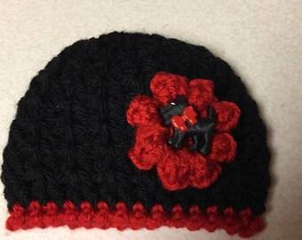 Newborn Crocheted Yorkie Beanie Black and Red 20162