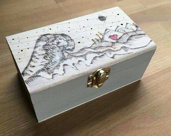 Wave heart Handcrafted Tea box/jewellery box. Wood burned, hand painted and lined. Wooden box, Gift for all