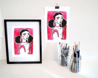 Lady in pink art illustration print