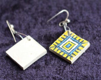 Vintage 1989s Ceramic Earrings; yellow, white and blue, aztec design
