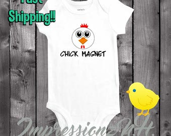Funny baby onesie, Easter onesie, easter shirt, easter bodysuit - Chick magnet