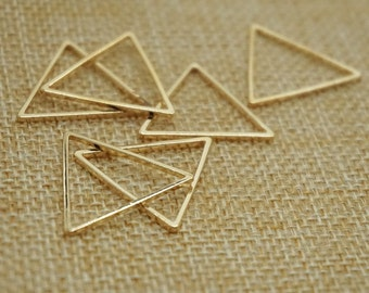 8 pieces GOLD 24 mm x 24 mm metal geometry triangle pattern Charm , diy jewelry / Earrings / Ear Studs materials, triangler vintage charm