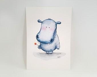 "Shy Hippo Print - A5 (5"" x 7"")"