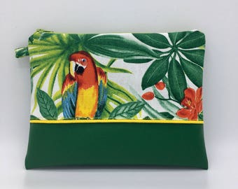 "Bag pouch / Beach package / kit of makeup, ""TROPICAL"" printing"