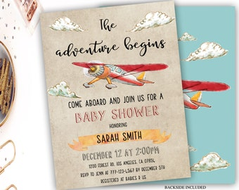 retro airplane baby shower invitation, vintage airplane baby shower invitation, boy baby shower, rustic airplane baby shower, aviator party